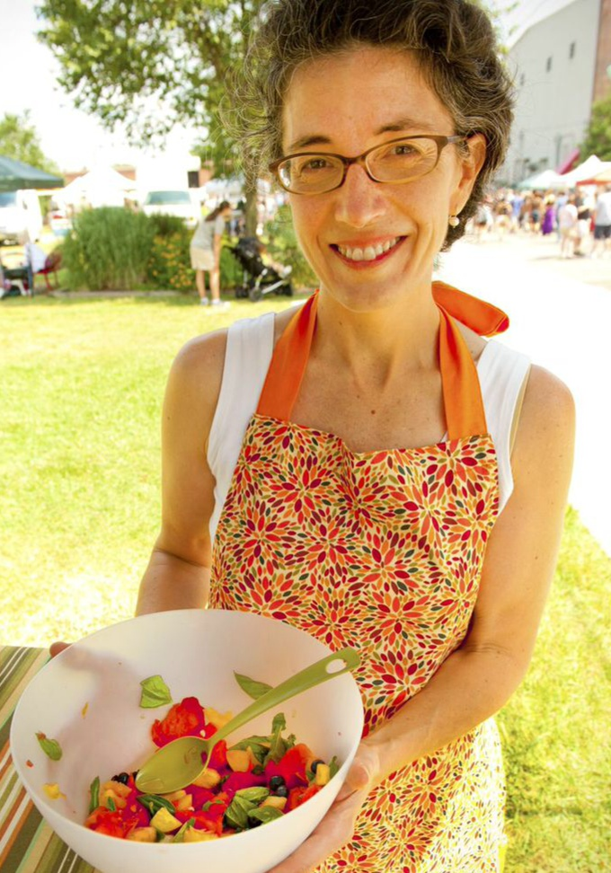 HomeFries Class Fruit Salad at Durham Farmers' Market July 2014. Copyright Casey Boone Photography