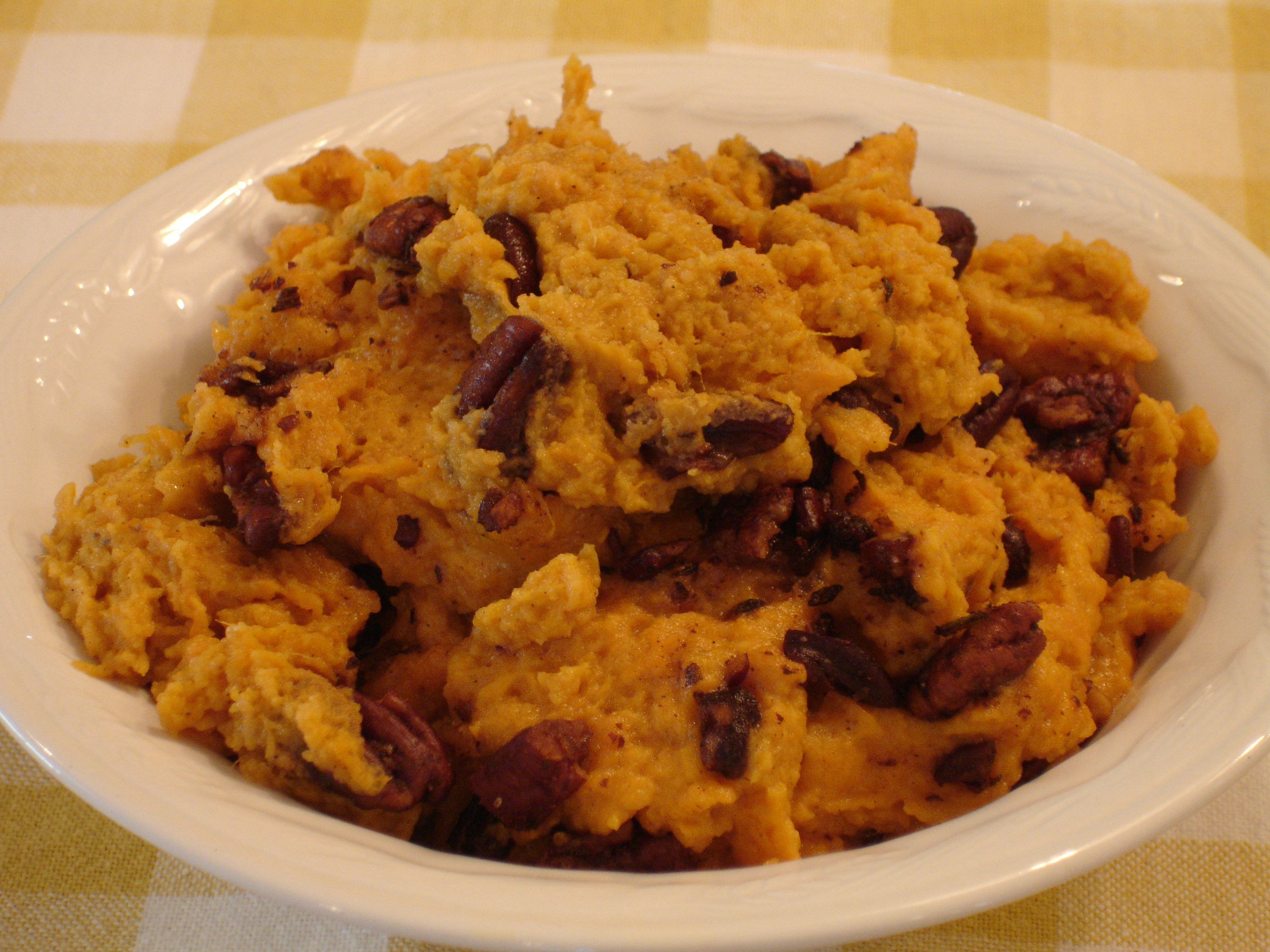 Sweet Potato Casserole with Spicy Pecan Topping