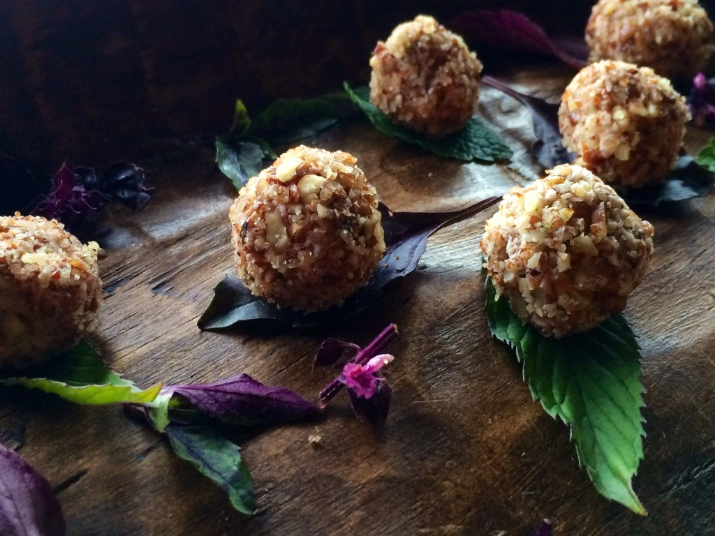 chevre truffles with dried summer fruit rolled in pecans
